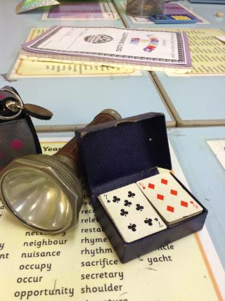 Torch and playing cards